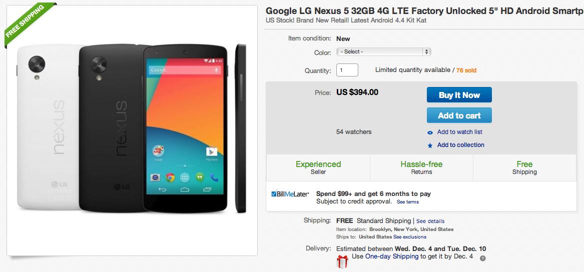 nexus 5 ebay deal