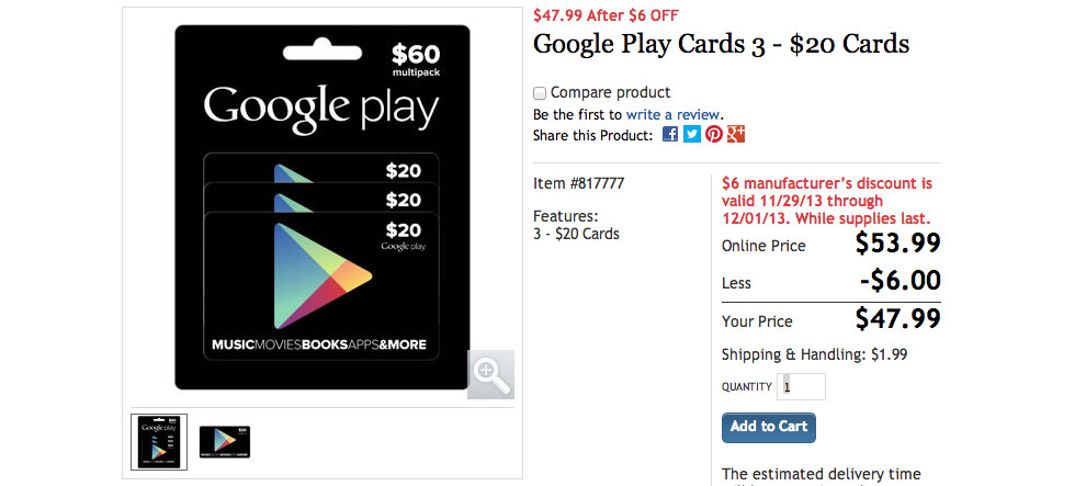 costco google play deal