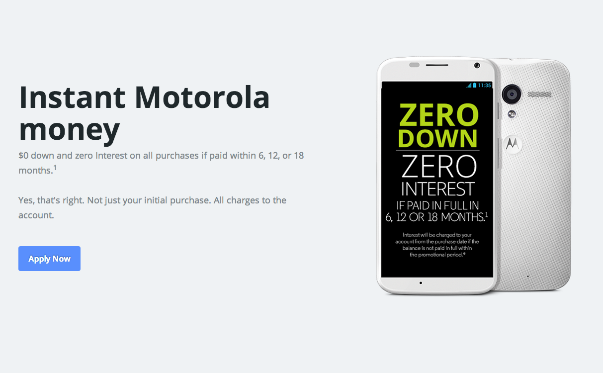 Motorola offers 0 down zero interest financing options for Furniture 0 interest financing