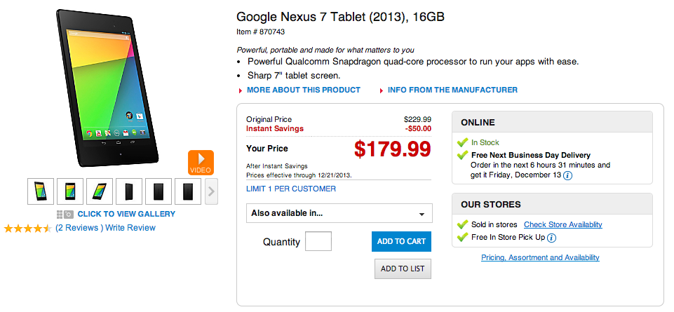 nexus 7 office depot deal