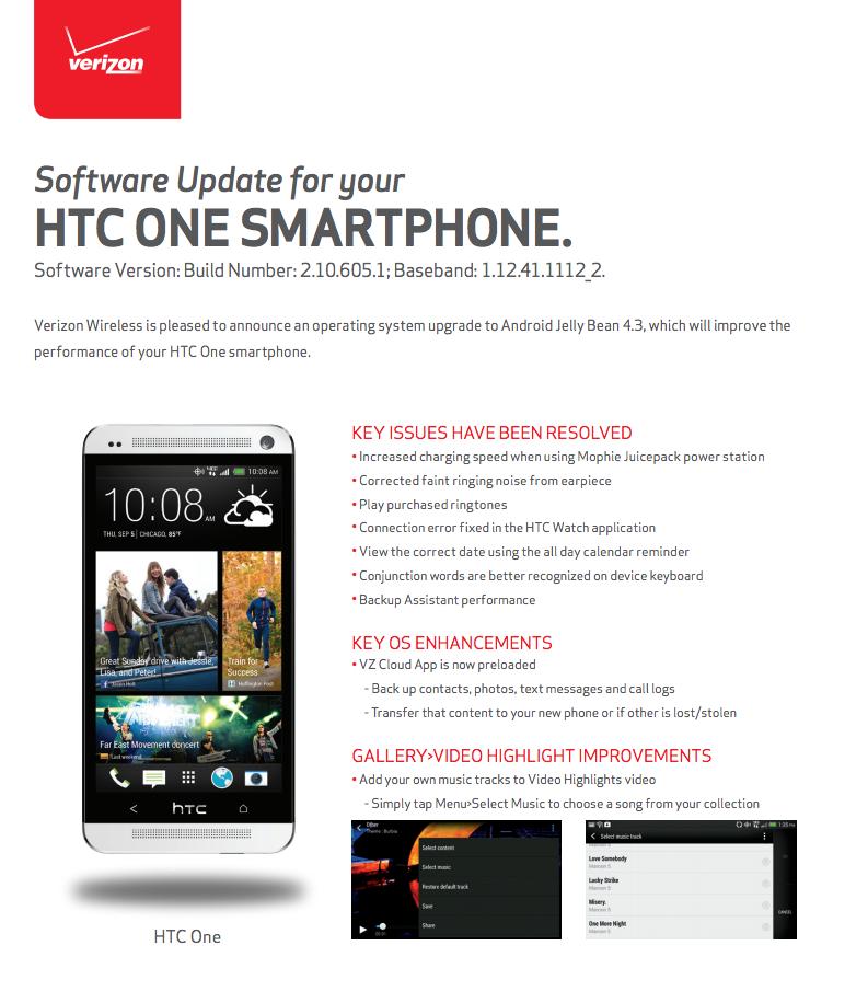 htc one 4.3 update verizon