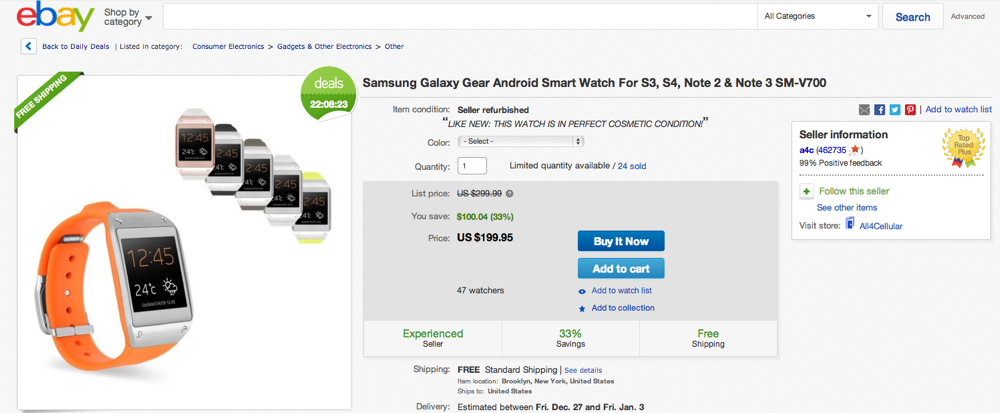 galaxy gear ebay deal
