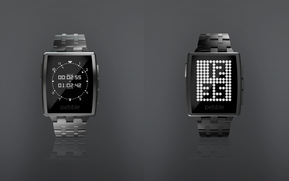 Pebble Steel-Brushed Stainless and Matte Black
