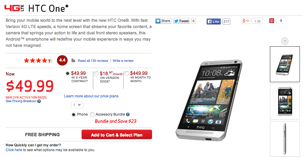 htc one verizon deal