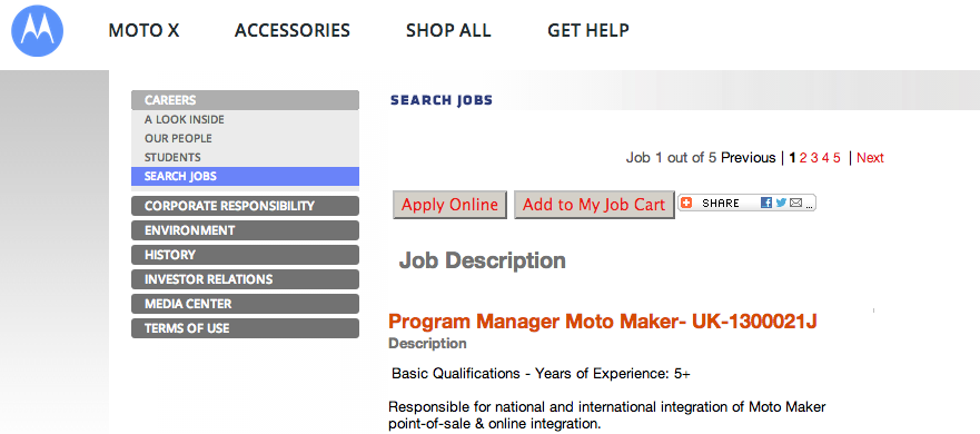 Motorola Hosting Event in London on January 14, Job Listing Suggests MotoMaker and Moto X