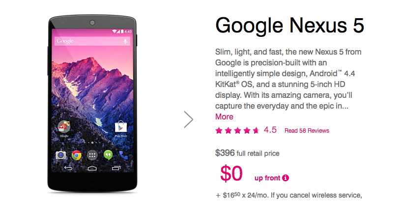nexus 5 t-mobile deal