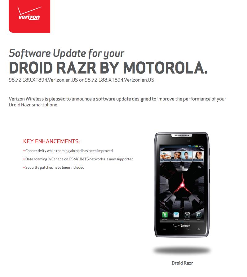 droid razr update