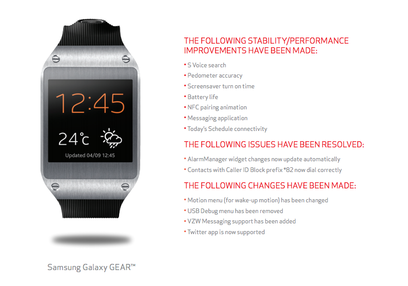 Samsung Galaxy Gear Updating to Build V700XXUAMK on Verizon - Rids App of USB Debug, Includes Improvements