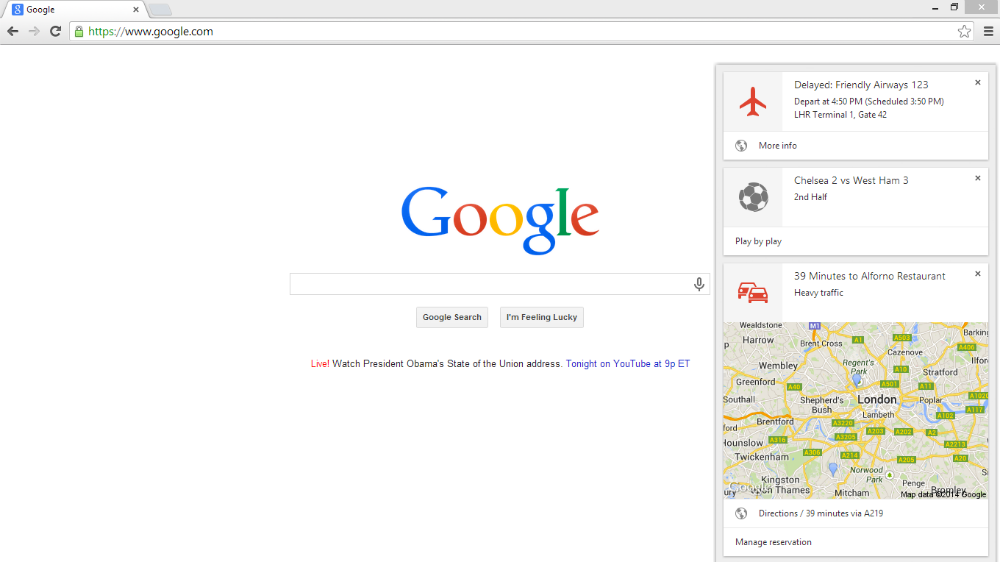 Google Now Chome Beta
