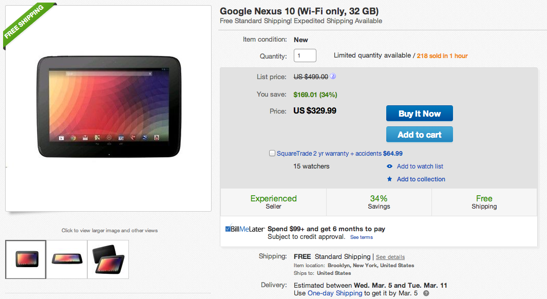 nexus 10 deal
