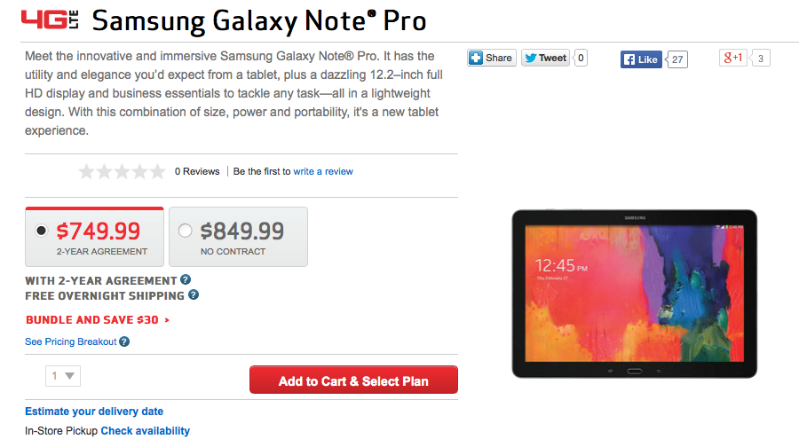 galaxy note pro 12.2 verizon