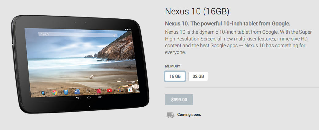 nexus 10 come soon