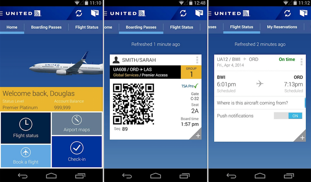 united airlines app update