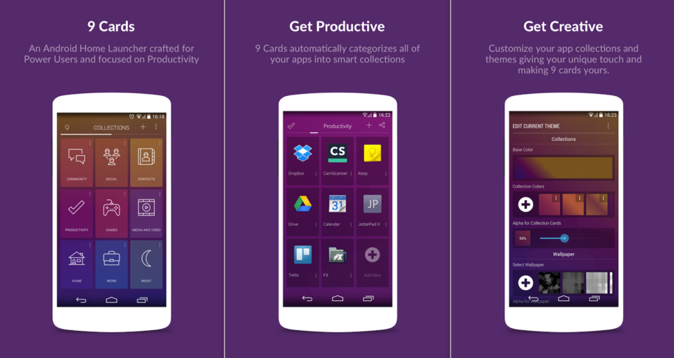 Organizing Apps 9 cards is a beautiful new launcher, organizing apps based on