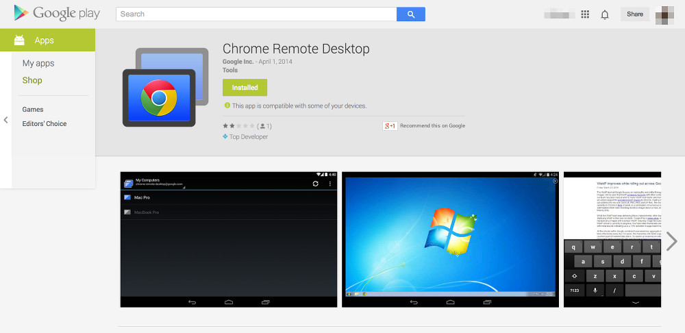 chrome remote desktop play