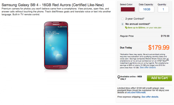 "Crazy Deal Part 2:  Galaxy S4 ""Certified Like-New"" From AT&T for $179 Off-Contract"