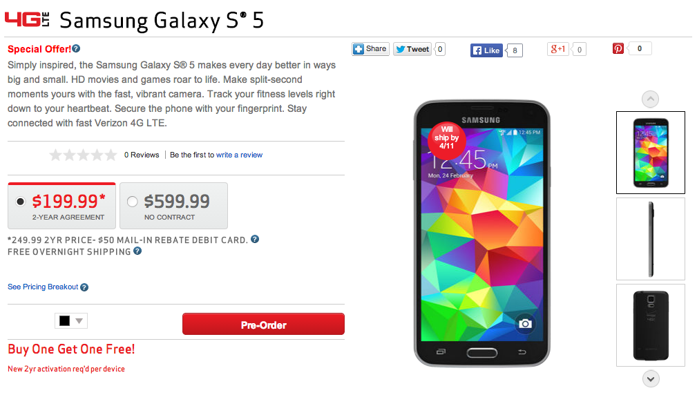 verizon galaxy s5 bogo