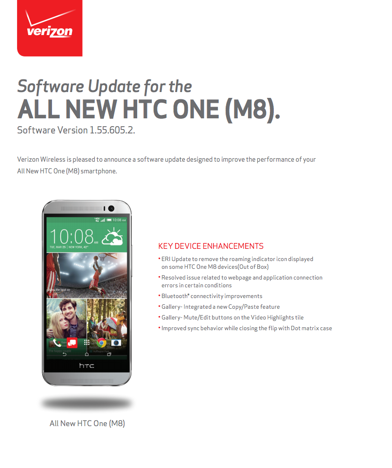 verizon one m8 update
