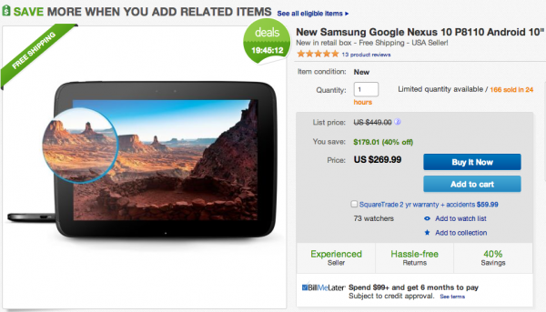 Deal:  New Nexus 10 16GB for $269 With Free Shipping