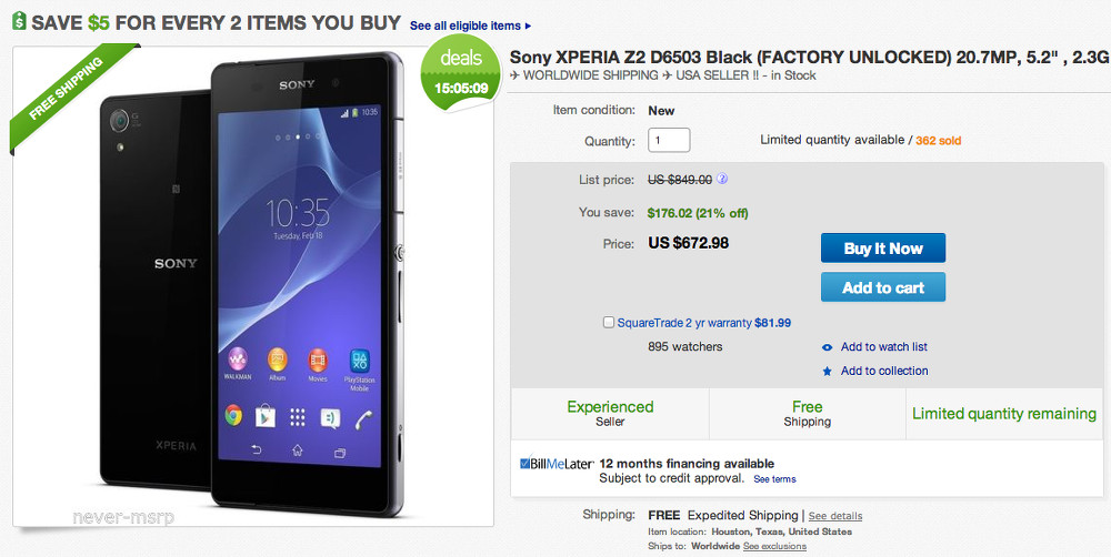 sony xperia z2 deal