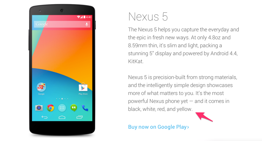 Nexus 5 - Yellow