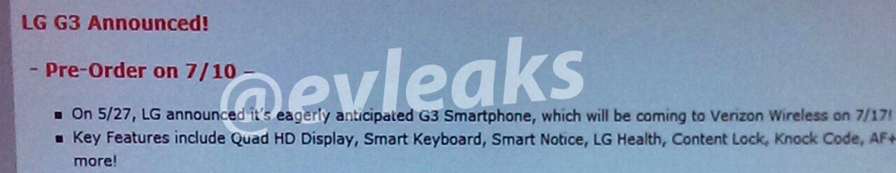 LG G3 pre order verizon