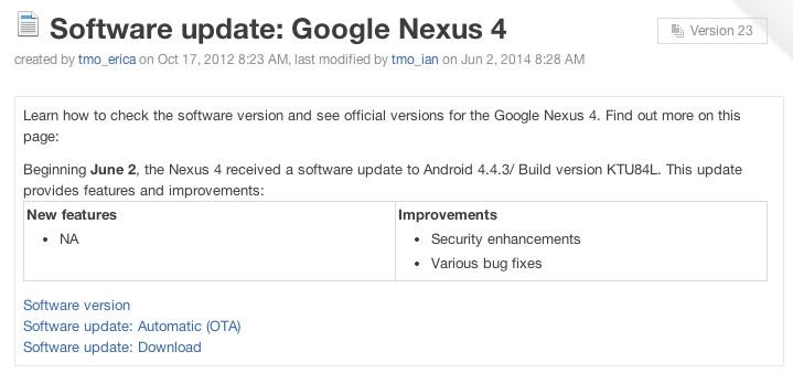 nexus 4 update