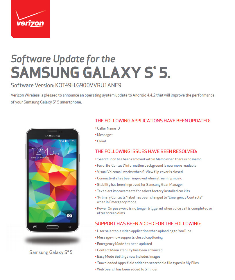 verizon galaxy s5 442