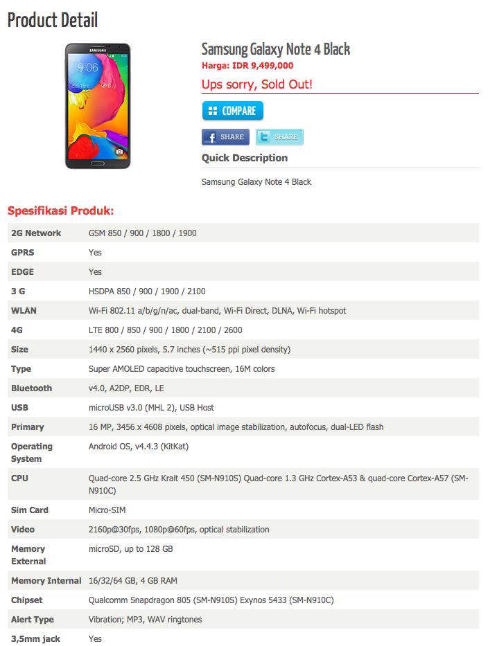Galaxy Note 4 specs