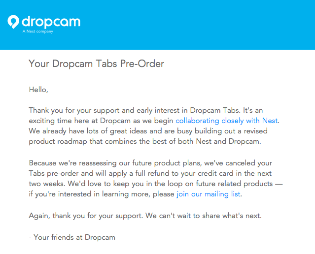 dropcam tabs cancel