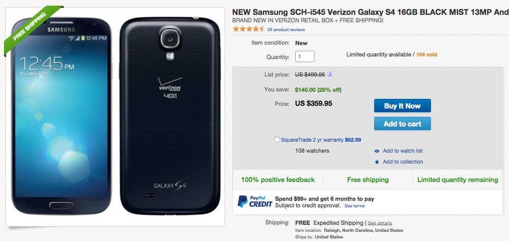 galaxy s4 ebay deal