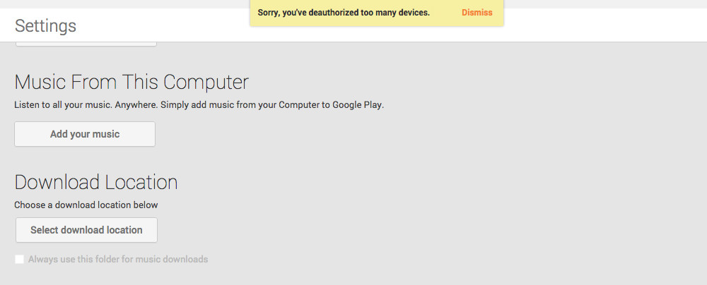 google music deauthorizations