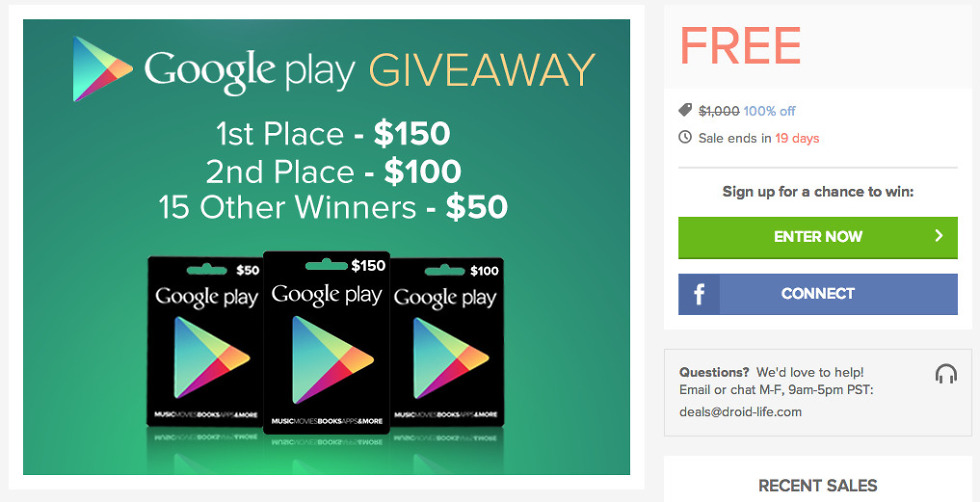 $1,000 in Google Play Gift Cards Up for Grabs – Droid Life