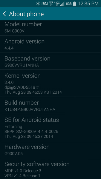Galaxy S5 Update