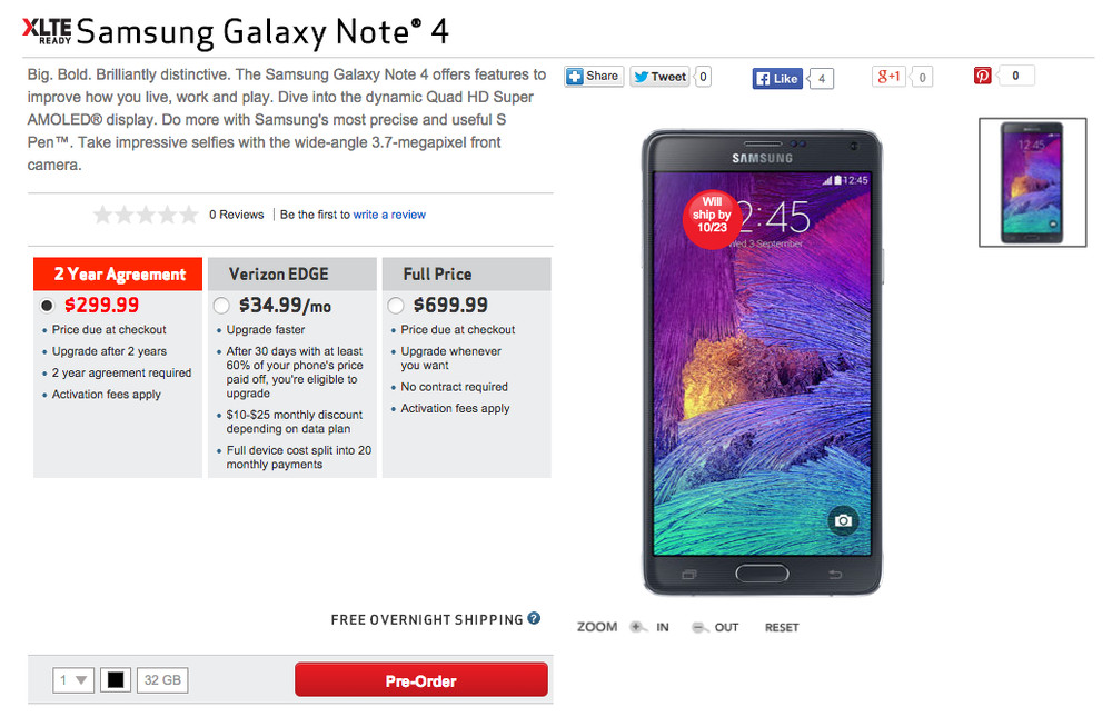 verizon note 4 preorder