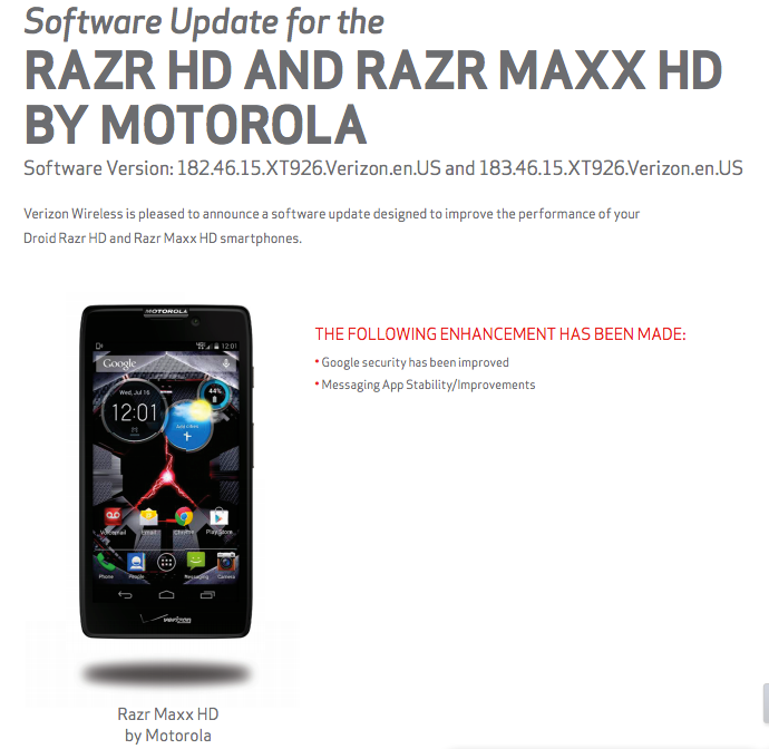 Verizon Update DROID RAZR HD