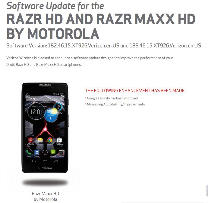 Verizon Update DROID RAZR HD