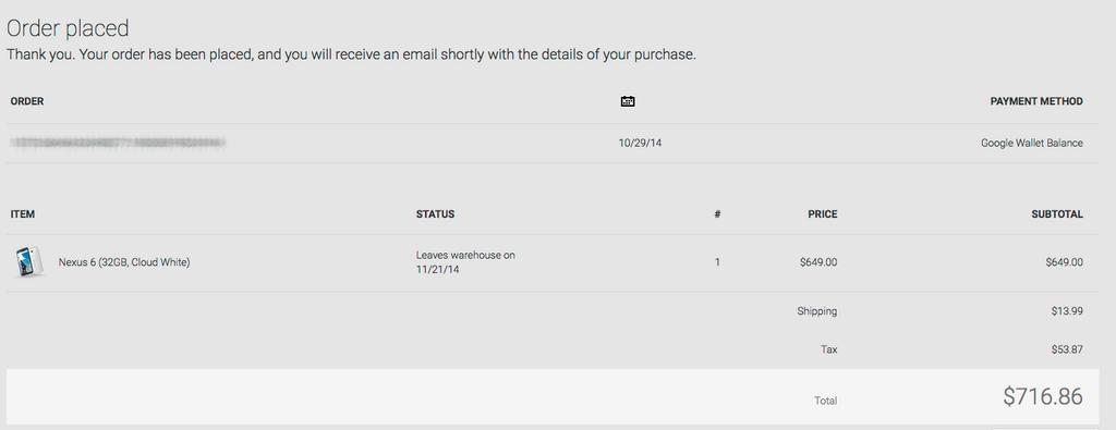 Nexus 6 pre-order date