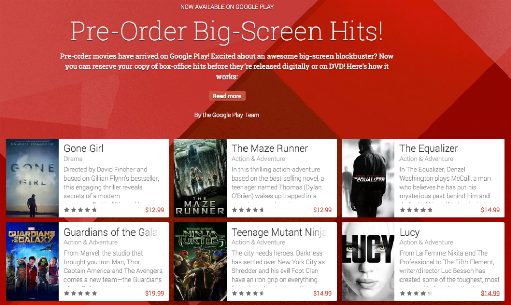 Google Play Pre-order Movies