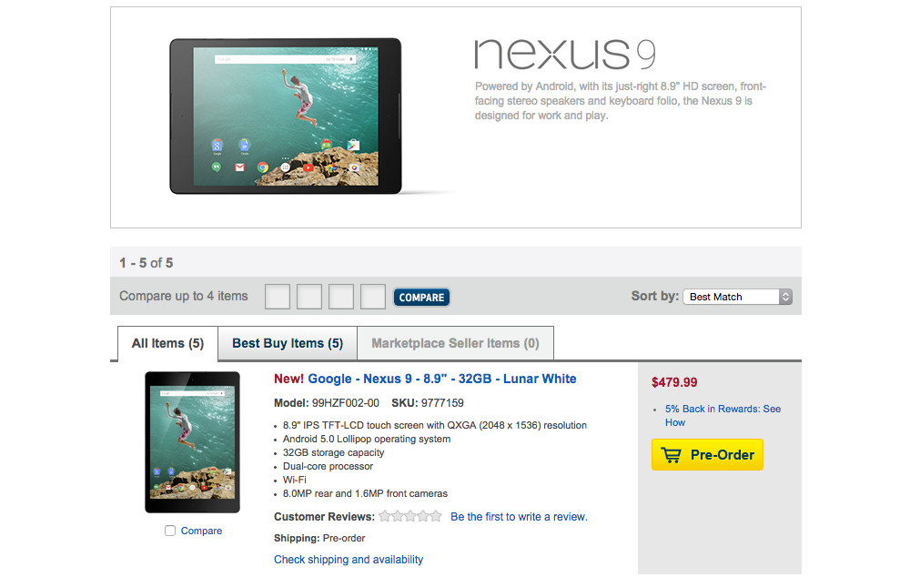 nexus 9 best buy preorders