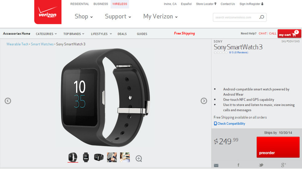 Sony Smartwatch 3 Now Available for Pre-order at Verizon