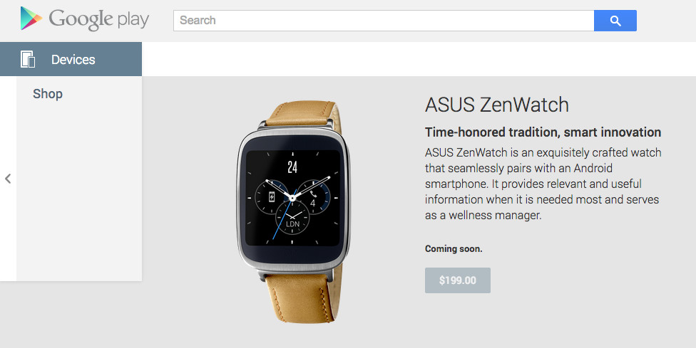 asus zenwatch google play