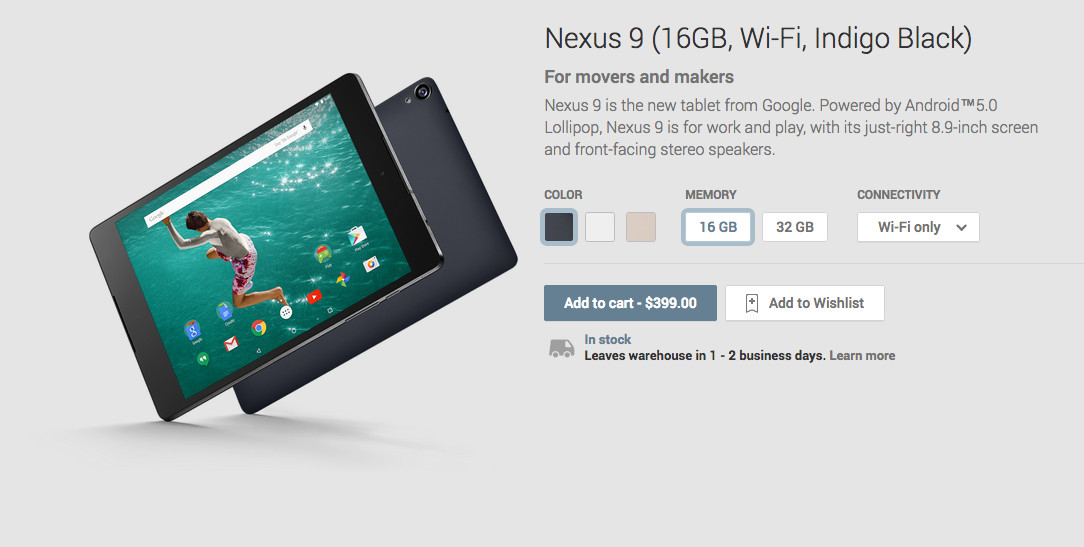 HTC Nexus 9 InStock and Shipping in 12 Days, Because Tomorrow is