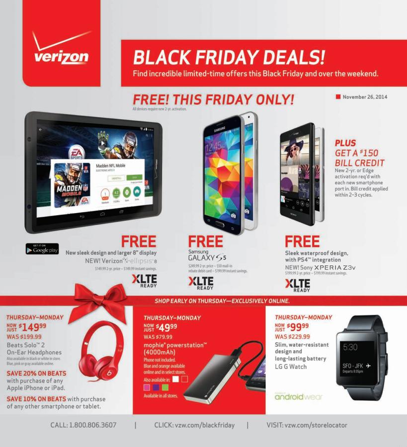 Verizon Black Friday 2014 Deals Free Galaxy S5 Moto X