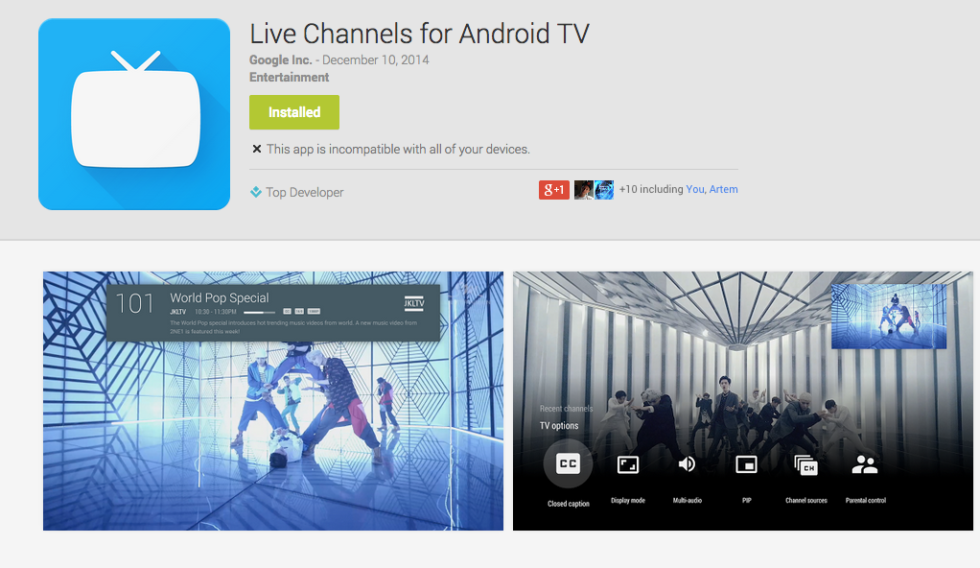 Live Channels App for Android TV Live on Google Play, Not