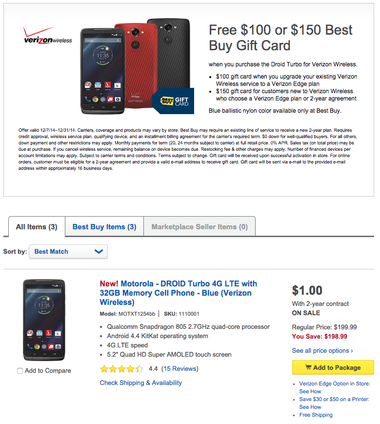 droid turbo best buy deal