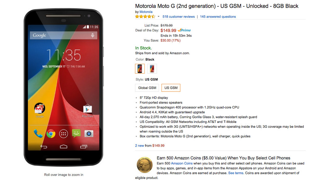 moto g sale amazon