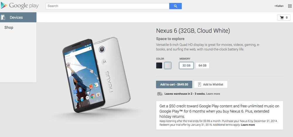 nexus 6 in stock