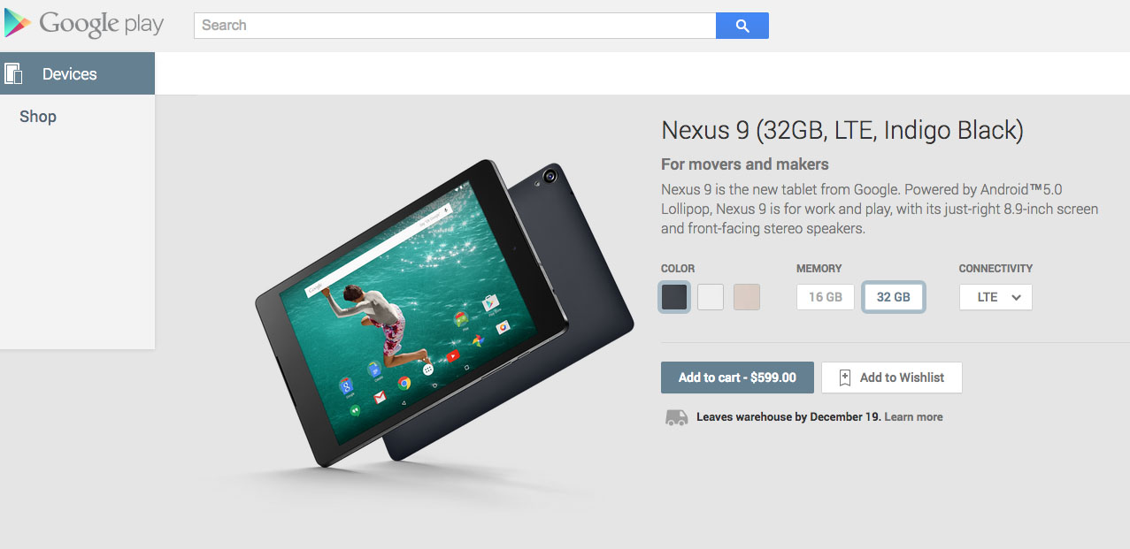 nexus 9 lte google play