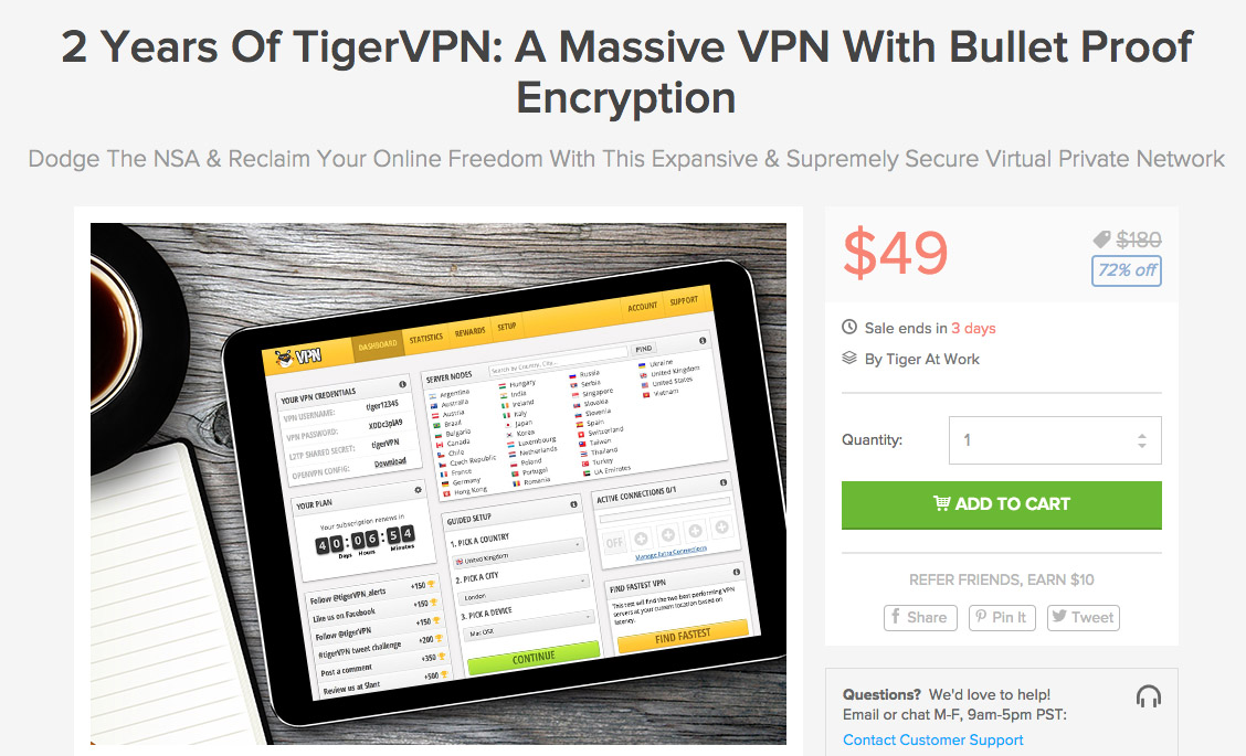 tigerVPN deal